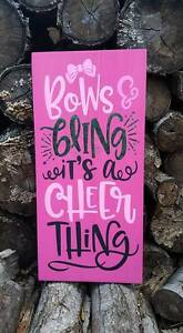 Large Primitive Wooden Sign Bows And Bling Its A Cheer Thing Girl Kids Sports