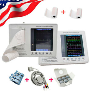 Portable Digital Electrocardiograph Ecg ekg Machine 12 Lead 3 channel Cable Lcd