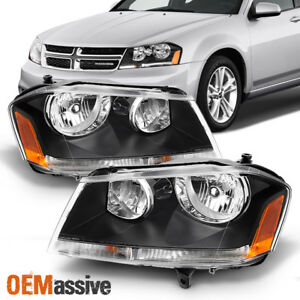 Fits 08 14 Dodge Avenger Black Replacement Headlights Headlamps Left Right
