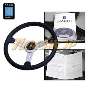 Italy Nardi Classic 360mm Steering Wheel Silver Spoke Black Leather Silver S