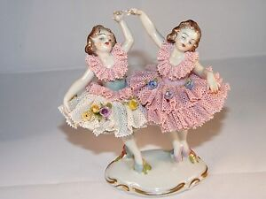 Rare German Volkstedt Dresden Lace Twin Ballerinas