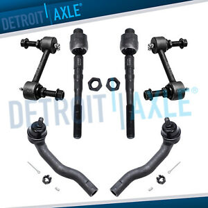 6pc Inner Outer Tierod Front Sway Bar Link For 2007 2014 Ford Edge Lincoln Mkx