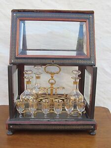 19th C Decorated Liquor Antique Tantalus With Brass Rosewood Inlays Box