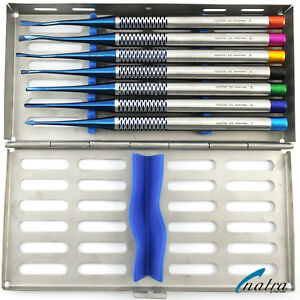 7 Blue Root Elevator Luxating Pdl Dental Implant Titan Surgical Tray Germany