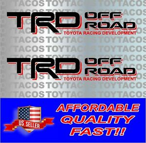 Trd Decals Vinyl Stickers 1 Pair Black Red Graphics Toyota Tundra Tacoma Truck