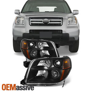 Fit 06 08 Honda Pilot Black Bezel Projector Headlights Headlamps Replacement