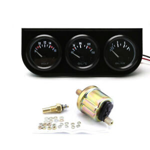 2 52mm 3in1 Car Volt Meter Oil Temp Gauge Oil Pressure Gauge Triple Meter Kit