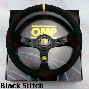 350mm Corsica Deep Dished Suede Leather Steering Wheel Omp 14 Black Stitch