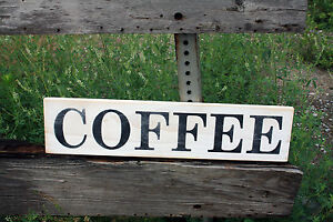 Primitive Large Wooden Sign Coffee Kitchen Rustic Country Distressed Farm House