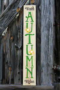 Large Rustic Wood Sign Warm Autumn Wishes Fall Harvest Porch Farm House Decor
