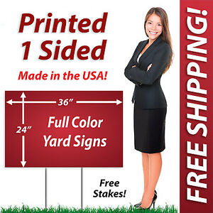25 24x36 Yard Signs Political Full Color Corrugated Plastic Free Stakes