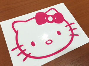 Hello Kitty Face Logo Decal Car Sticker Fuel Cover 4 4x3 2 Pink White Black Red