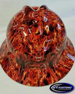 Blaze Pattern Full Brim New Custom Msa V gard Hard Hat W fastrac