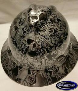 Silver Skulls And Roses Full Brim New Custom Msa V gard Hard Hat W fastrac