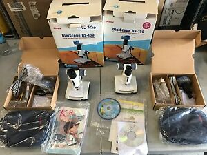 Lot Of 2 Motic Digiscope Ds 150 Zoom Microscopes W digital Camera Used