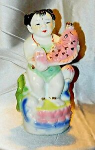 Vintage Chinese Porcelain Girl Fish Statue Hand Painted Famille Rose 10