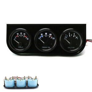 2 52mm 3in1 Volt Meter Water Temperature Oil Pressure Gauge Triple Meter Kit