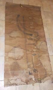 Very Old Scroll Calligraphy Hand Painting Signed As Is Chinese Info On Back