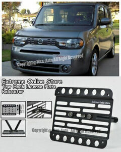 For 09 up Nissan Cube Front Bumper Tow Hook License Plate Relocator Bracket