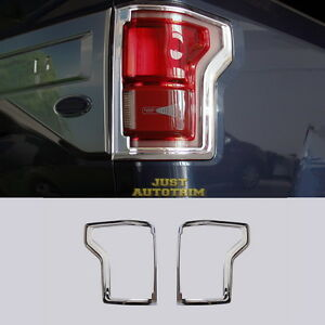 For 2016 17 Ford F150 Chrome Rear Truck Tail Light Cover Trim Bezel Accessories