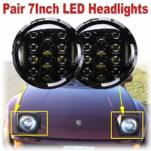 Cree 7inch Round Led Headlight Bulb Chrome Headlamp Drl Fit For Porsche 944 Pair