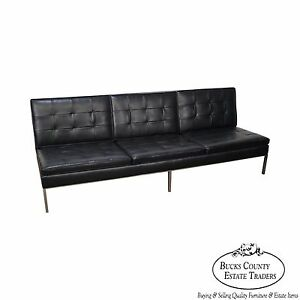 Florence Knoll Mid Century Modern Black Leather Chrome Frame Armless Sofa A