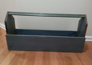 Wood Carpenter S Tool Box Rustic Garden Tote Caddy Old 35 Long