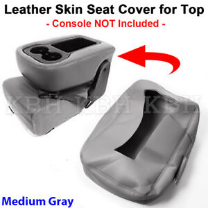 Leather Armrest Console Jump Seat Cover 07 13 Silverado Tahoe Sierra Dark Gray