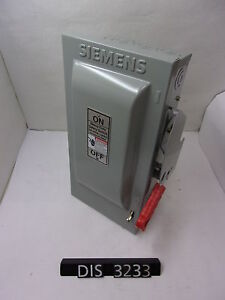 New Other Siemens 600 Volt 30 Amp Fused Disconnect Safety Switch dis3233