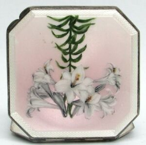 Beautiful English Birmingham Sterling Silver Lilly Flower Enamel Compact