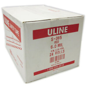 24 Rolls Uline S 385 Red Safety Tape 2 X 36yds 6mil