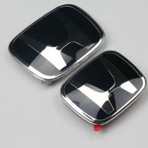2x New Black H Jdm Fit Honda Grille Rear Emblem Badges Crv Re Odyssey 3 Rb4