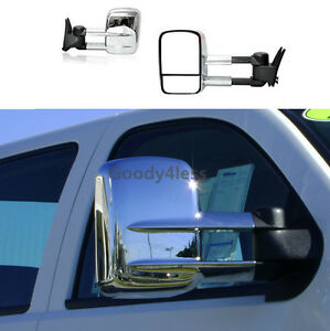 For 14 18 Silverado Sierra 1500 Pickup Manual Telescoping Towing Mirrors Chrome