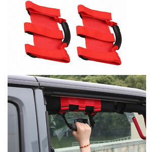 2x Red Roll Bar Grab Handles Grip Hand Holder For Jeep Wrangler Jk Unlimited Ya