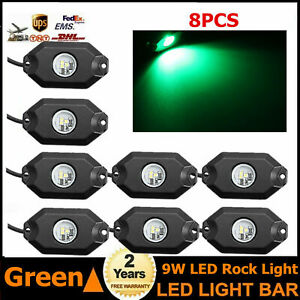 8x 9w White Led Rock Light Wrangler Truck Off road Under Wheel Fender Lamp 4wd
