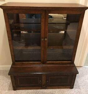 Antique Wooden Display Show Case Curio Cabinet Quality Piece Lion Handles