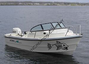 Boat Yacht Decal Vinyl Removable Sticker Skull Fish Skeleton Kayak Both Sides