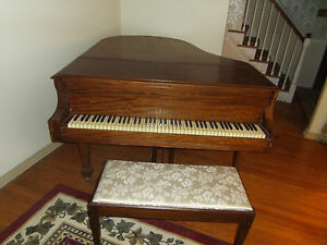 Kranich And Bach Antique Baby Grand Piano W Bench Mahogony