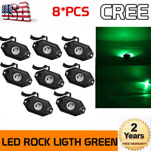 8pcs 2inch 9w Bright Green Led Rock Lights Accent Under Car Body For Jeep Truck