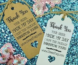 Thank You Order For Your Tags Cards Business Compliment Slips