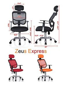 Sport Adjustable Chair With Armrests Head Rest Wheels Black Red Orange Office
