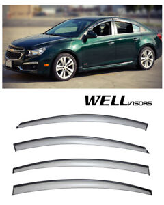 For 11 15 Chevrolet Cruze Wellvisors Side Window Visors W Black Trim