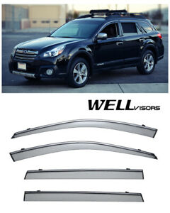 For 10 14 Subaru Outback Wellvisors Side Window Deflectors Visors W Chrome Trim