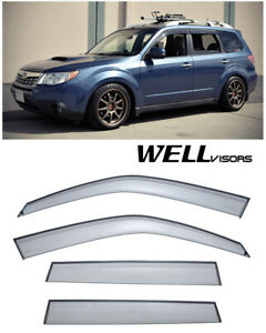 For 09 13 Subaru Forester Wellvisors Side Window Visors Premium Series