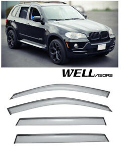 For 07 up Bmw X5 Wellvisors Side Window Visors W Black Trim