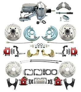 1964 1972 Chevelle Performance D s Disc Conversion Kit Red Pc Calipers Chrome