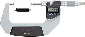 Mitutoyo Lcd Digital Disk Disc Flange Non rotating Micrometer 50 75mm 0 001mm