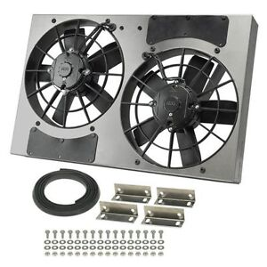 Derale 16831 High Output Dual 11 Electric Rad Fan aluminum Shroud 24 Width