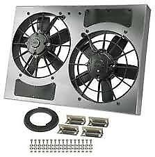 Derale 16833 High Output Dual 11 Electric Rad Fan aluminum Shroud 24 Width