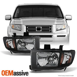 Fits 2006 2014 Honda Ridgeline Black Replacement Headlights Lh Rh Headlamps